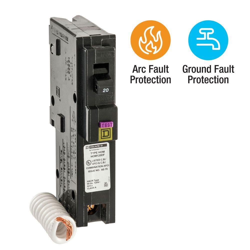 Homeline 20 Amp Single-Pole Dual Function (CAFCI and GFCI) Circuit Breaker