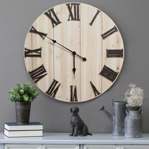Distressed White Wood Wall Clock Stratton Home Decor