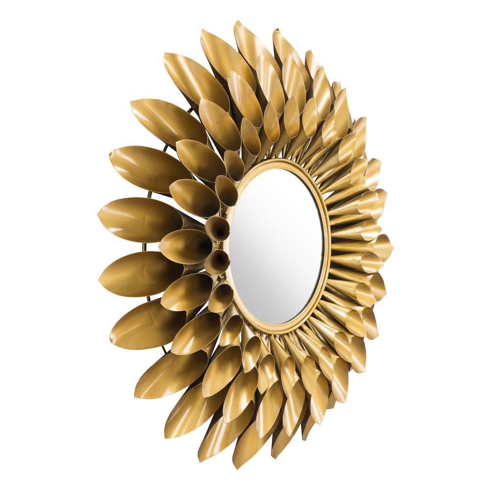 Medium Round Gold Modern Mirror (31.5 in. H x 31.5 in. W)