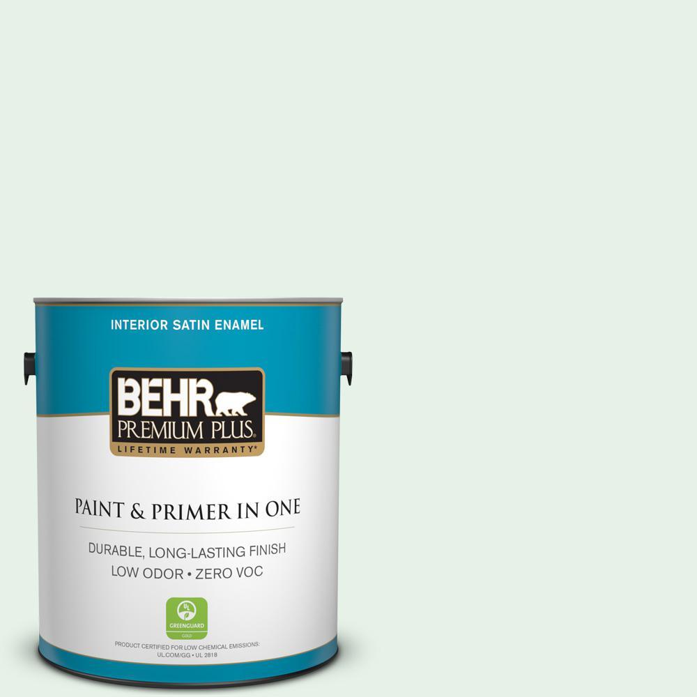 1-gal. #470C-1 Mint Fizz Zero VOC Satin Enamel Interior Paint