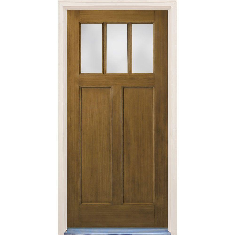 Builder's Choice 36 in. x 80 in. Craftsman English Walnut 2-Panel 3 Lite Stained Premium Fiberglass Prehung Front Door with Brickmould