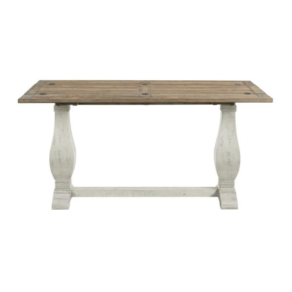 Napa White Stain and Reclaimed Natural Pedestal Flip Top Sofa Table