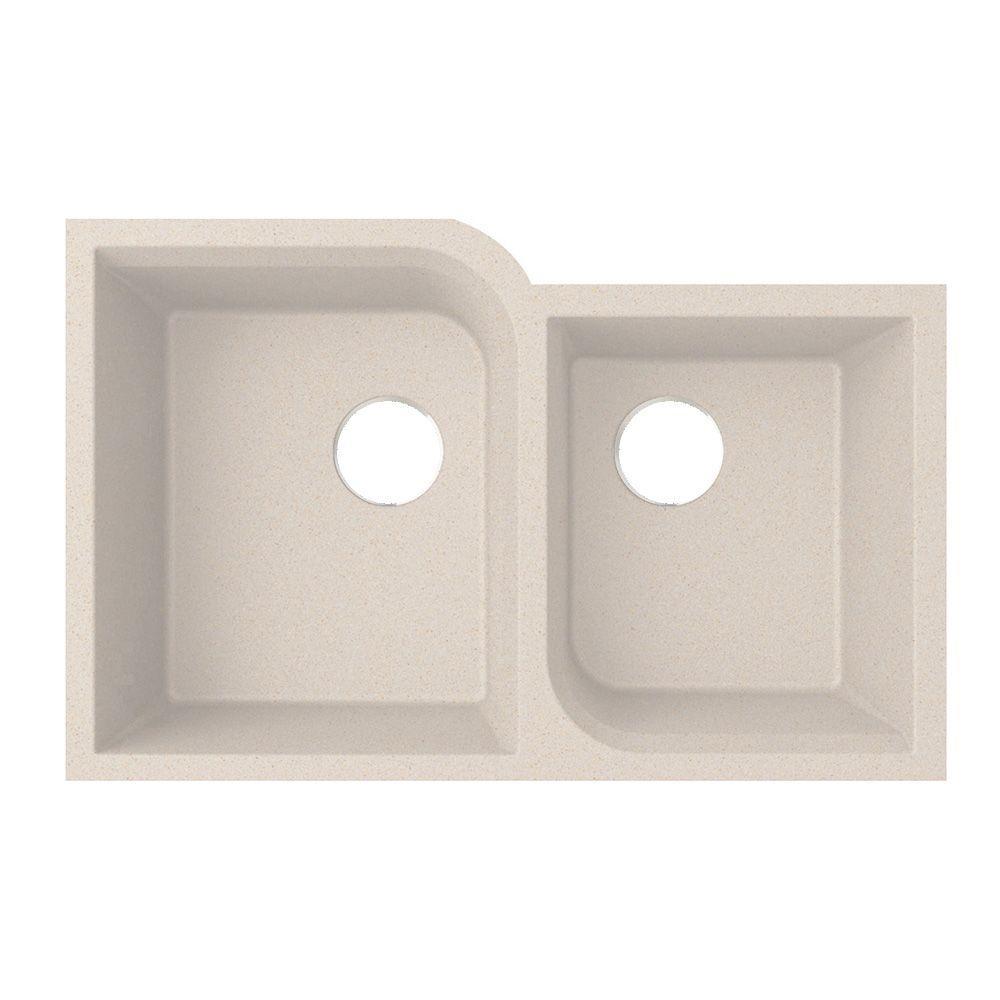 Swan Undermount Granite 21 in. Double Bowl Kitchen Sink in Granito