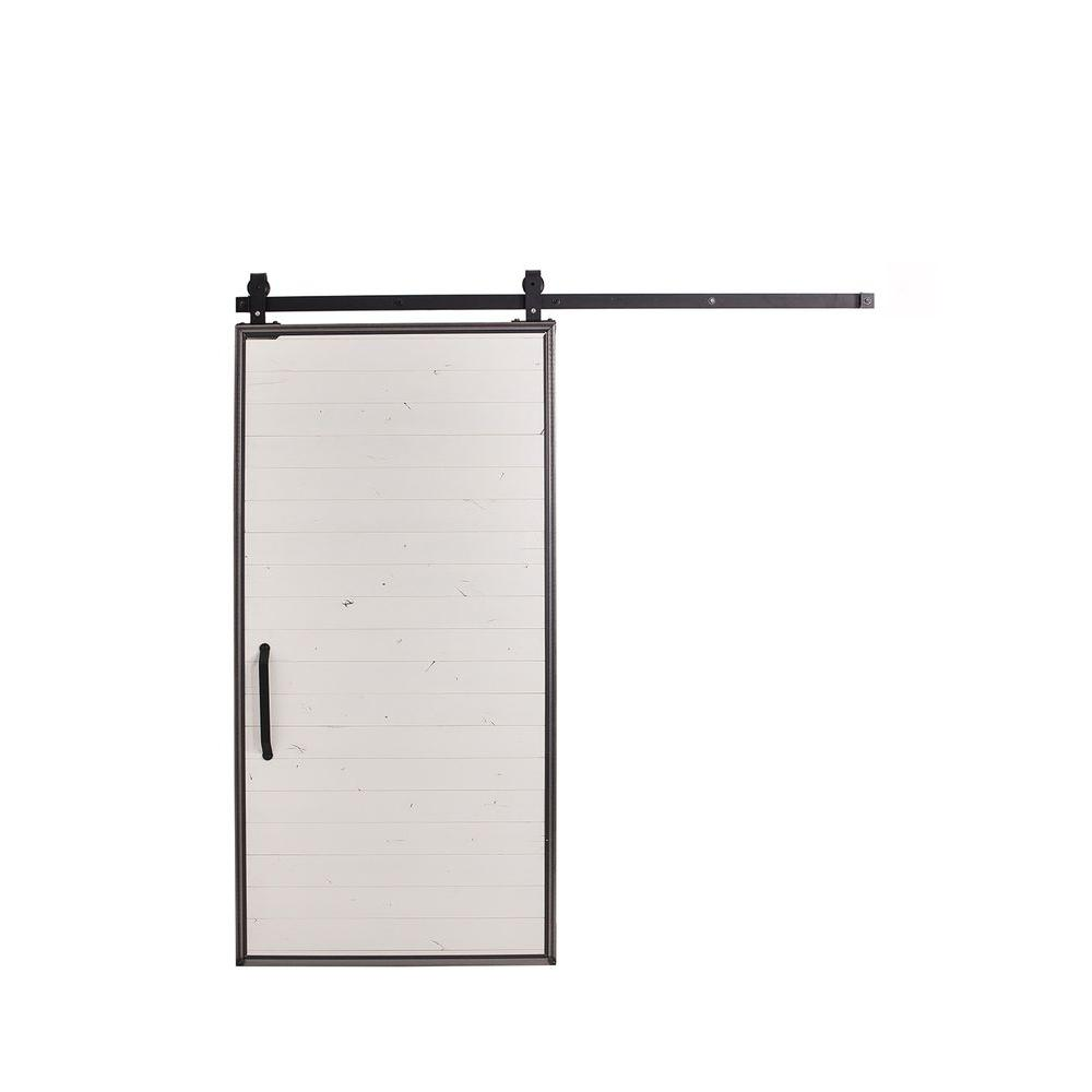 Mountain Modern White Wood Barn Door With