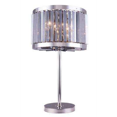 Chelsea 32 in. Polished Nickel Table Lamp with Silver Shade Grey Crystal