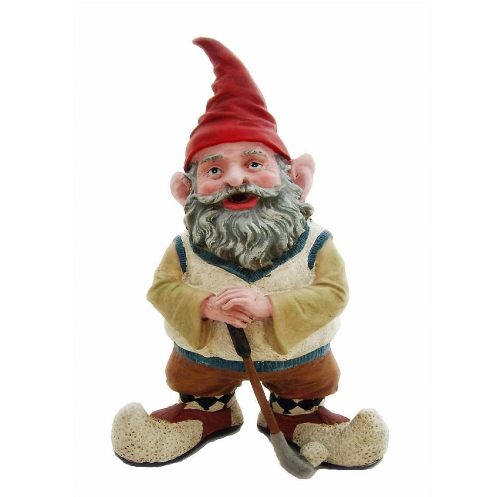 Gnome In Garden: HOMESTYLES 14 In. H Greg The Golfer Gnome Holding A Golf