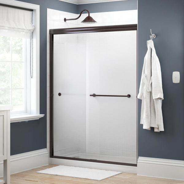 Lyndall 60 in. x 70 in. Semi-Frameless Traditional Sliding Shower Door in Bronze with Droplet Glass