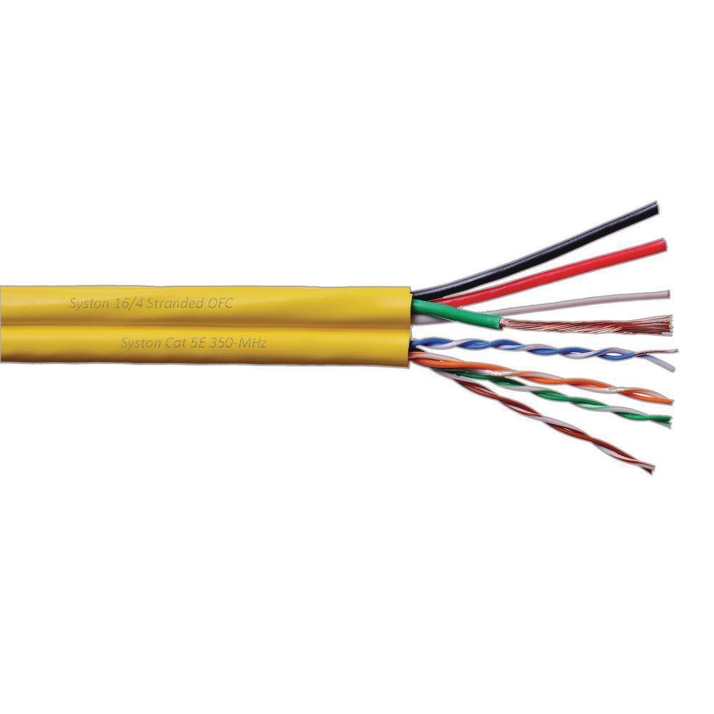 Cat5e UTP CMR Blue + 16/4 OFC Audio CMR 500 ft. Yellow Jacket Multimedia Bundled Cable