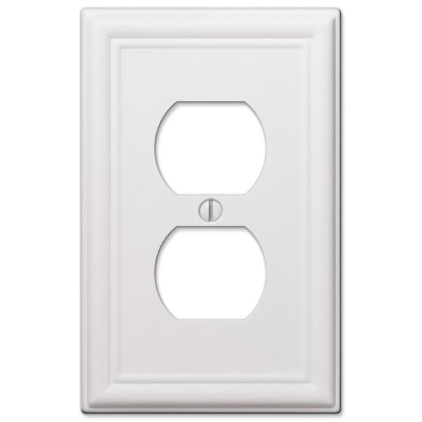 Ascher 1 Gang Duplex Steel Wall Plate - White
