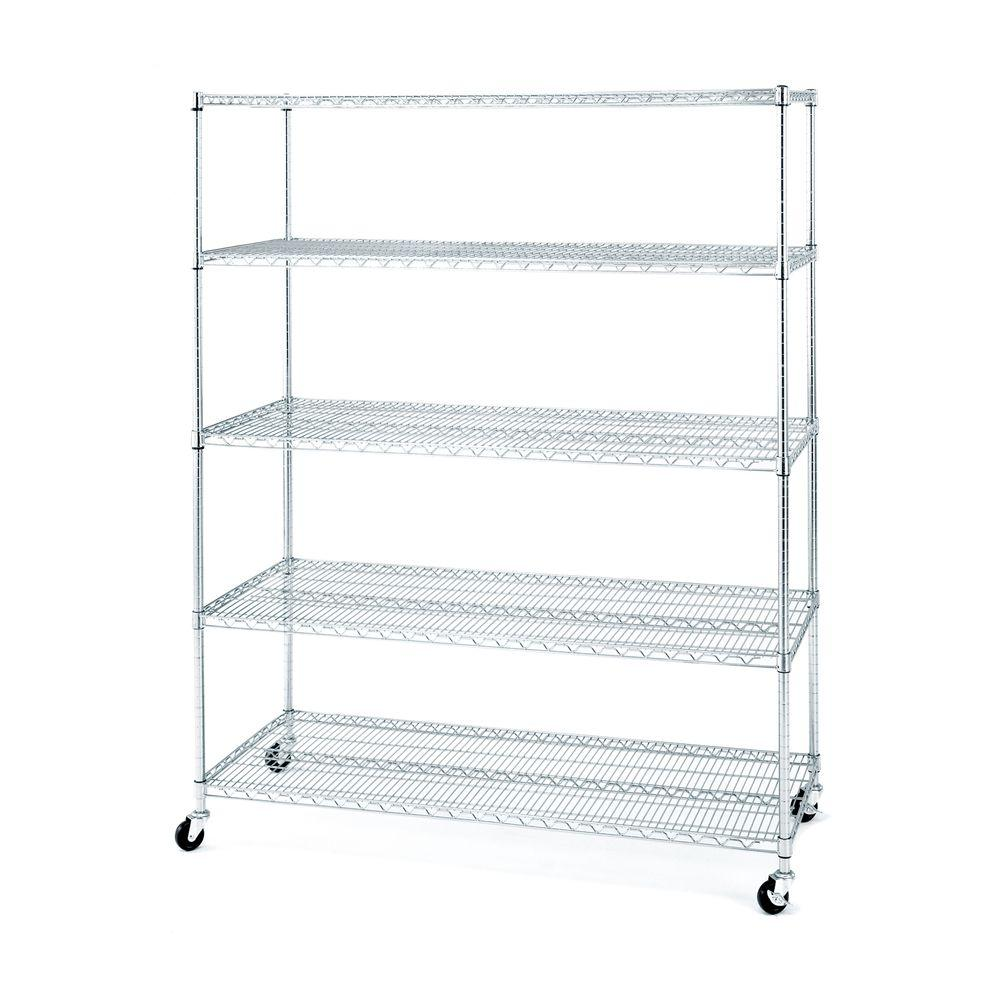 Seville Classics 5-Shelf Steel Wire 4-Wheeled Shelving System in ...