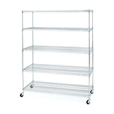 5-Shelf Steel Wire 4-Wheeled Shelving System in Chrome