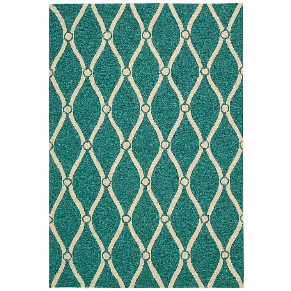 Portico Aqua 10 ft. x 13 ft. Indoor/Outdoor Area Rug