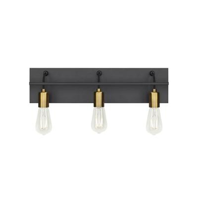 Tae 24 in. W 3-Light Black Industrial Metal Bathroom Vanity Light with Aged Brass Socket Cups and Black Cords