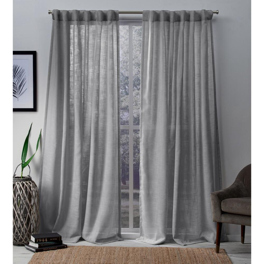 Bella 54 In W X 96 In L Sheer Hidden Tab Top Curtain