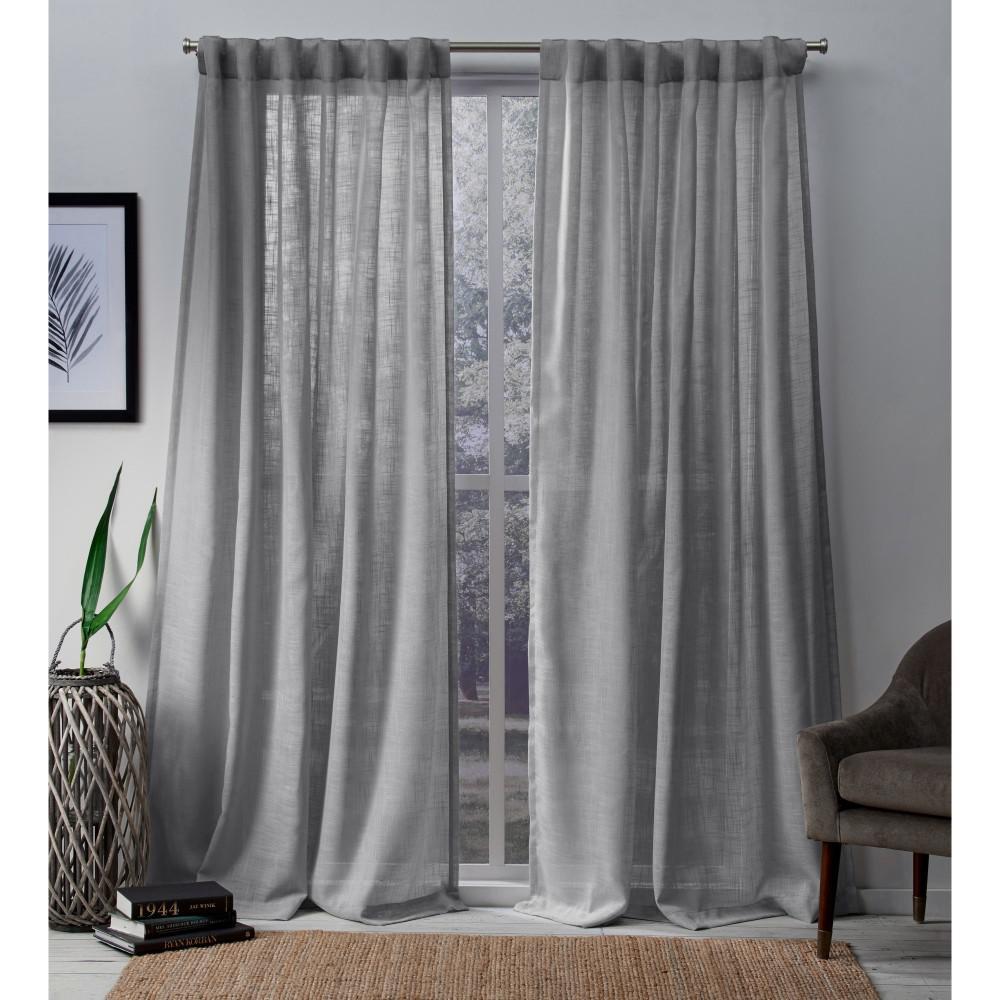 Bella 54 in. W x 96 in. L Sheer Hidden Tab Top Curtain Panel in Silver (2 Panels)