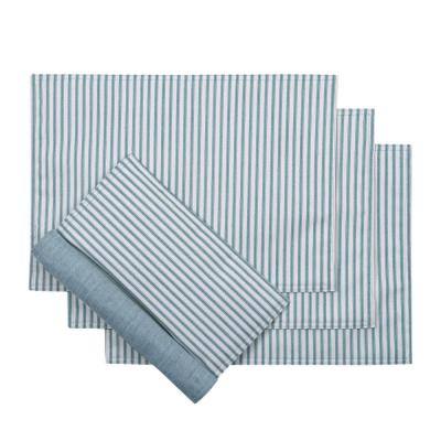 Plaza Stripe 18 in. x 12 in. Blue Polyester/Cotton Placemats ( Set of 4)