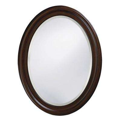 33 in. x 25 in. Round Framed Mirror in Brown