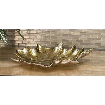 17 in. x 3 in. Modern Glass Gray and Gold Leaf Bowls (Set of 2)