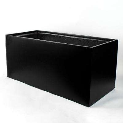 20 in. x 20 in. Black Fiberglass Rectangle Planter