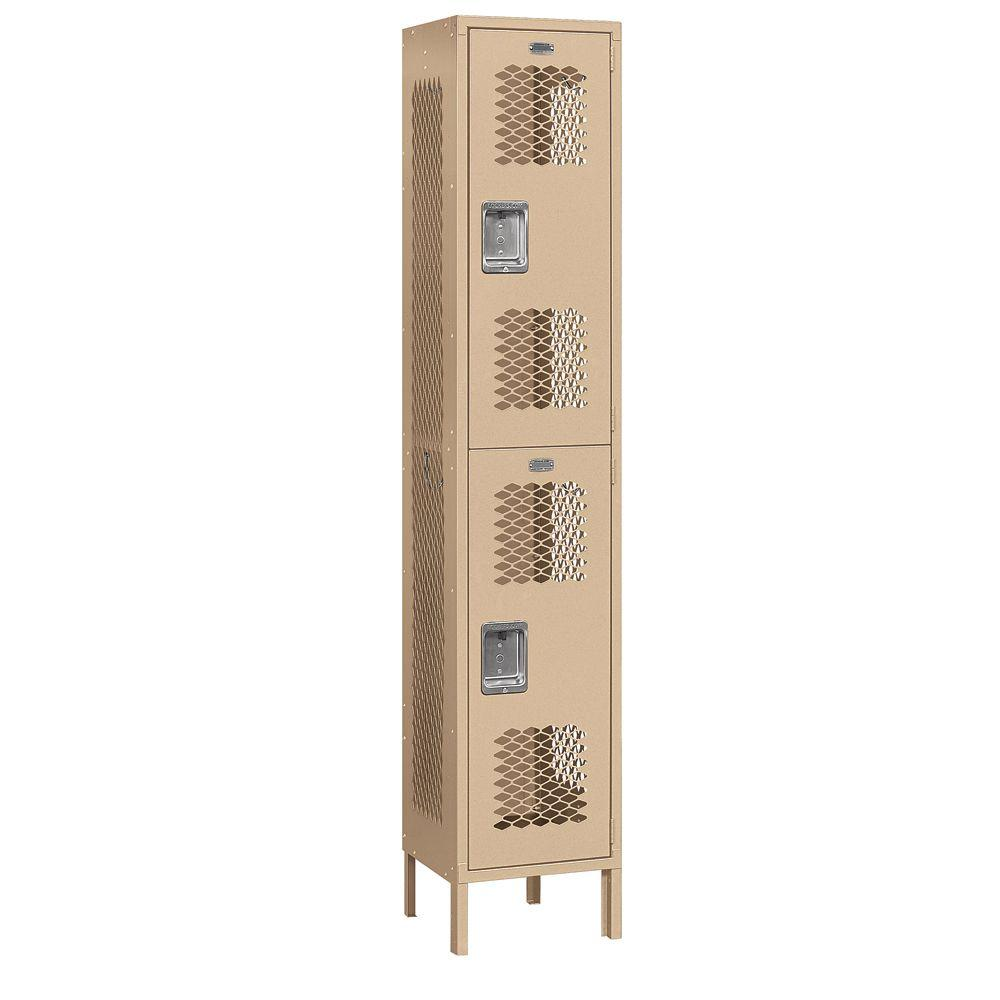 Salsbury Industries 82000 Series 15 in. W x 78 in. H x 15 in. D 2-Tier Extra Wide Vented Metal Locker Unassembled in Tan