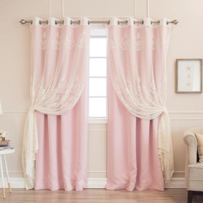 84 in. L uMIXm Sheer Agatha and Blackout Curtains in Light Pink (4-Pack)