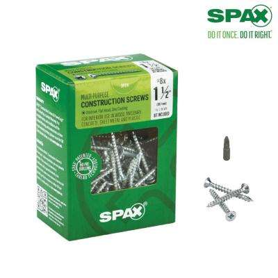 #8 x 1-1/2 in. Phillips Square Drive Flat-Head Full Thread Zinc Coated Multi Material Screw (197 per Box)