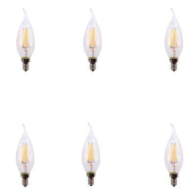 40-Watt Equivalent B11 Flame Tip E12 Base Dimmable Clear Glass Filament LED Light Bulb Daylight (6-Pack)