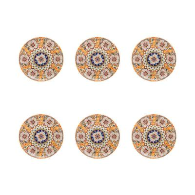 Unni Orange and Blue Large 9.24 in. Dinner Plate (Set of 6)