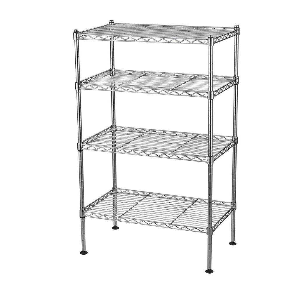 Sandusky 32 in. H x 20 in. W x 12 in. D 4-Shelf Light Duty Chrome Wire Shelving Unit
