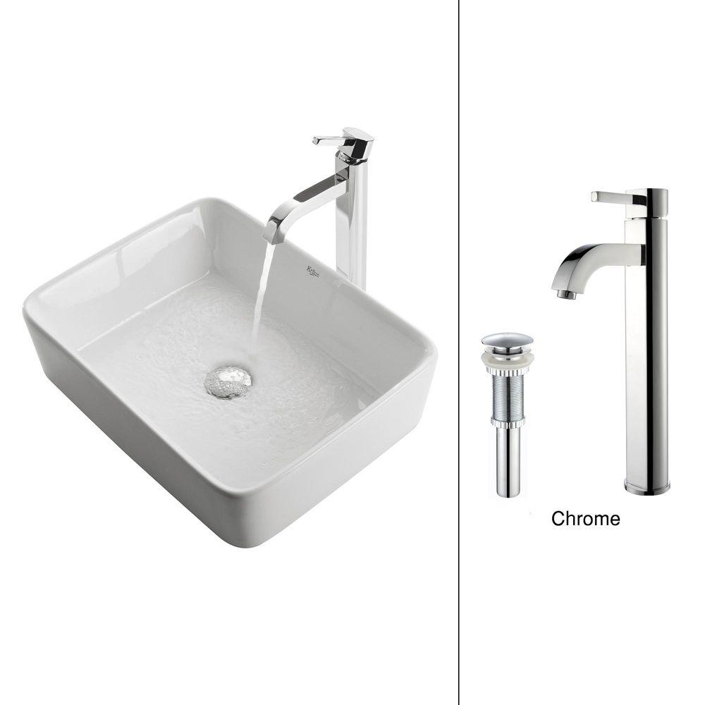 KRAUS Vessel Sink in White with Ramus Faucet in Chrome