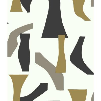 Modernist Black/Gold Paper Peelable Roll (Covers 34.17 sq. ft.)