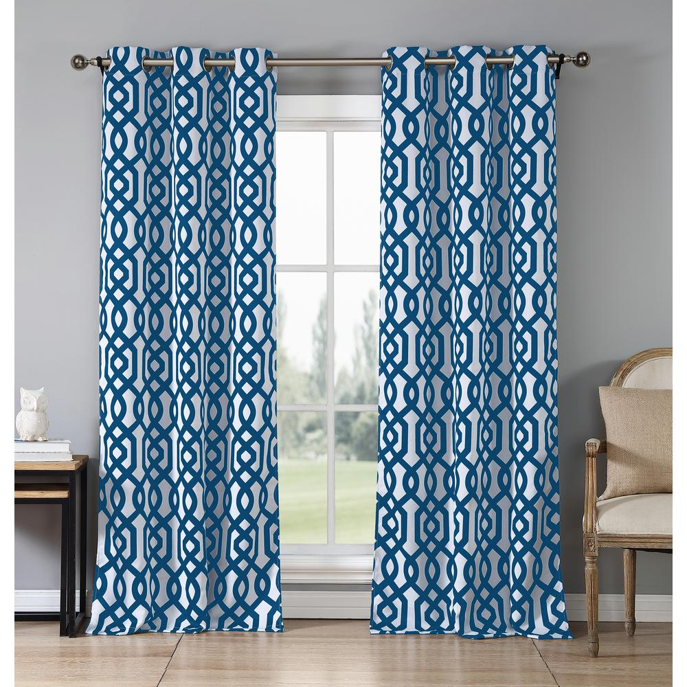 Duck River Ashmont 84 in. L x 38 in. W Polyester Blackout Curtain Panel in Royal Blue (2-Pack)