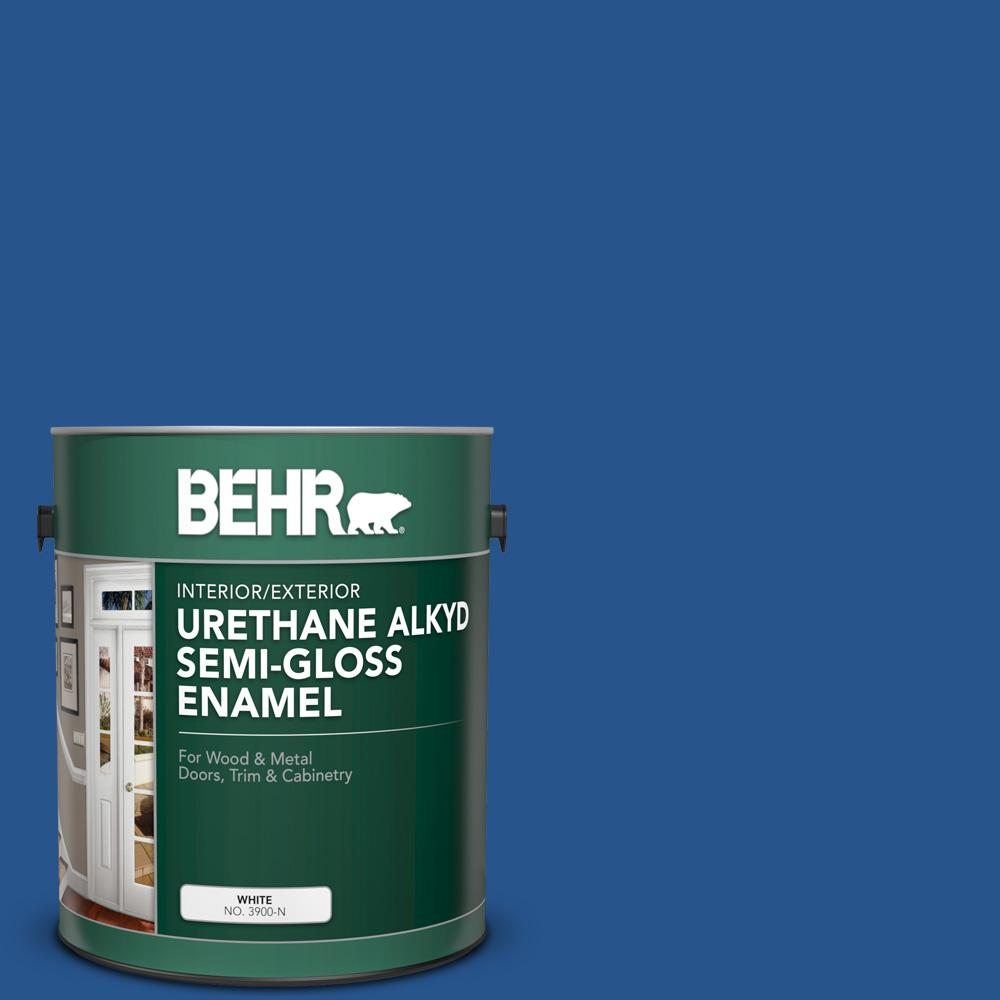 Behr 1 Gal Ppu15 03 Dark Cobalt Blue Urethane Alkyd Semi Gloss Enamel Interior Exterior Paint 393001 The Home Depot