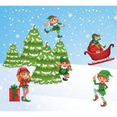 7 ft. x 8 ft. North Pole Elves-Christmas Garage Door Decor Mural for Split Car Garage
