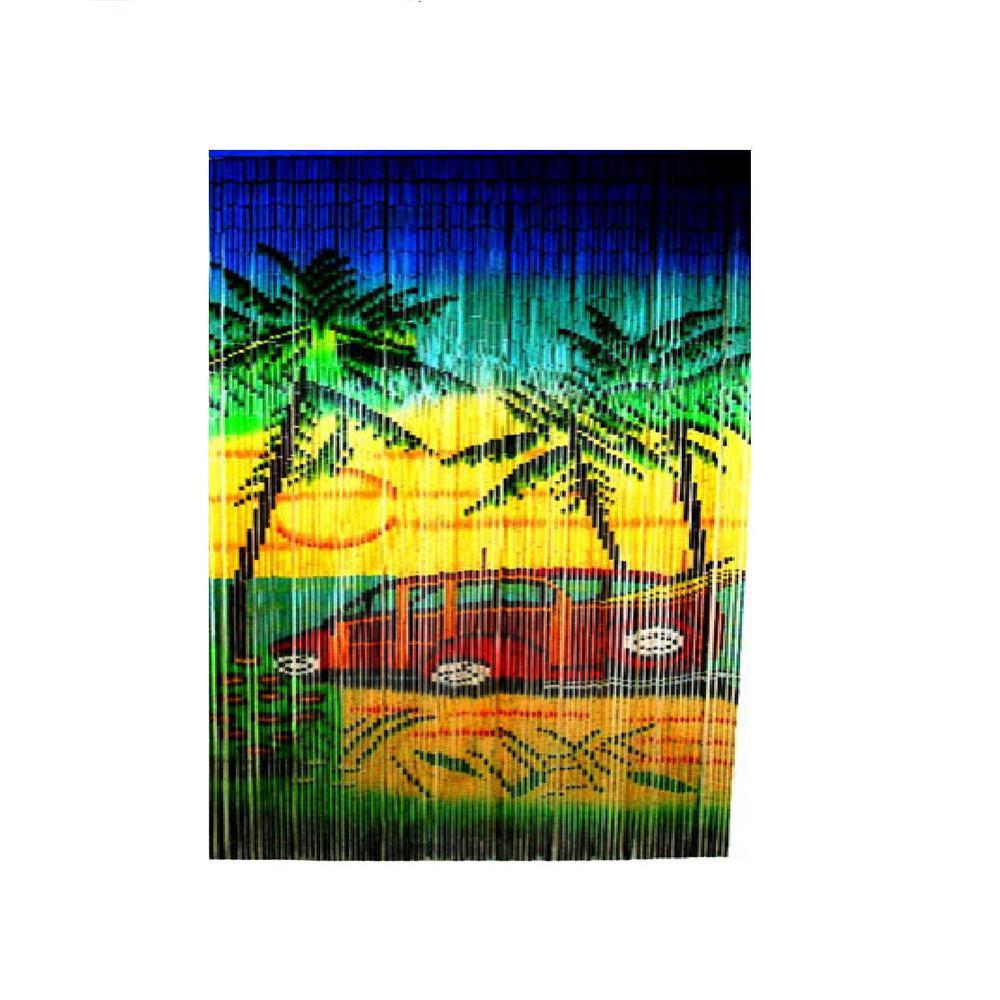 Woody Car Print Beaded Bamboo Curtain