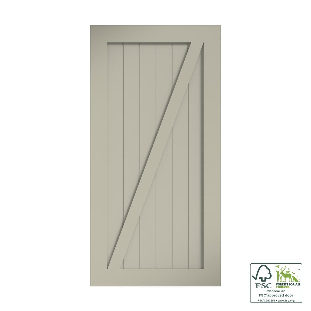 eightdoors 42 in. x 96 in. Z-Shape Solid Core White Primed Interior Barn Door Slab