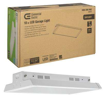 High Output 18 in. Linear White Integrated LED Garage High Bay Light 5000K Daylight 10,000 Lumens