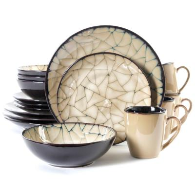 Zambezi 16-Piece Black with Beige Reactive Glaze Dinnerware Set