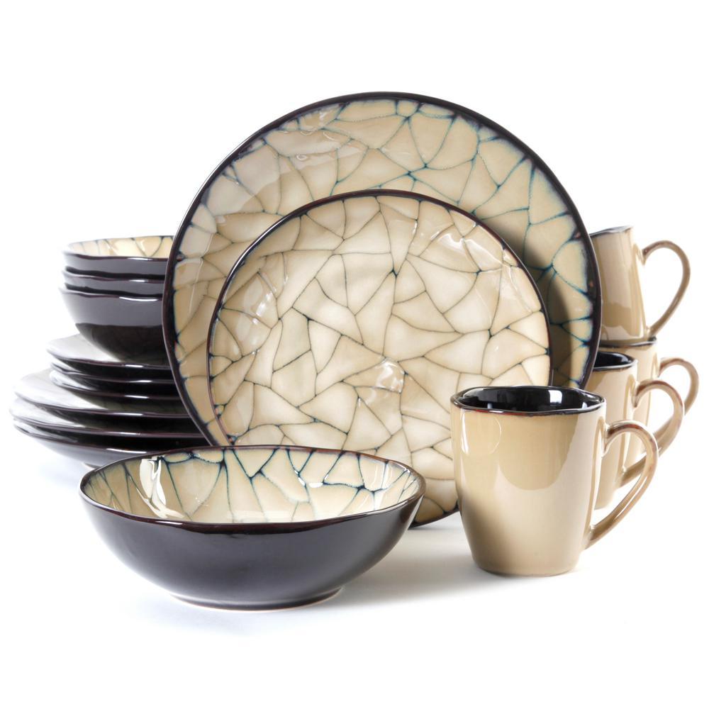 Zambezi 16-Piece Black with Beige Reactive Glaze Dinnerware Set