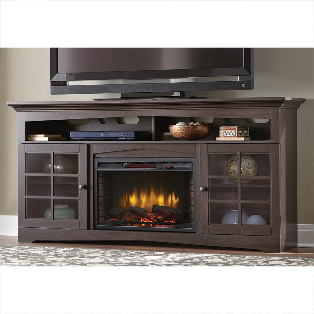 Bring a mission style to your home with this Home Decorators Collection Avondale Grove Media Console Infrared Electric Fireplace in Aged Black.