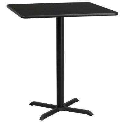 36 in. Square Black Laminate Table Top with 30 in. x 30 in. Bar Height Table Base