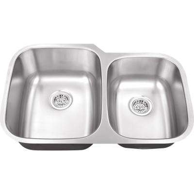 Undermount 32 in. 18-Gauge Stainless Steel Kitchen Sink in Brushed Stainless