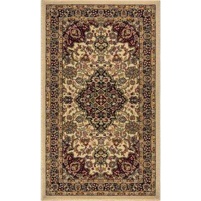 Silk Road Ivory 2 ft. x 3 ft. Medallion Area Rug