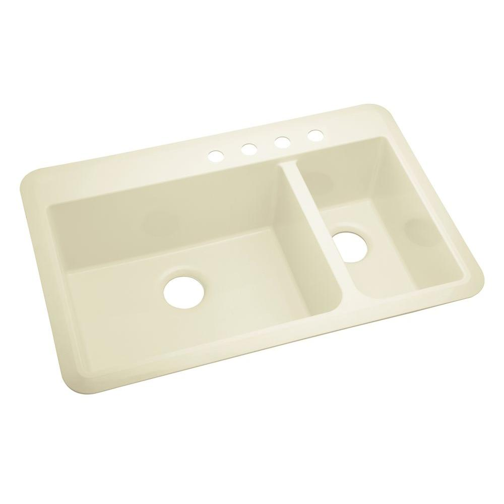STERLING Slope Vikrell 33x22x9 4 Hole Offset Sink in Biscuit