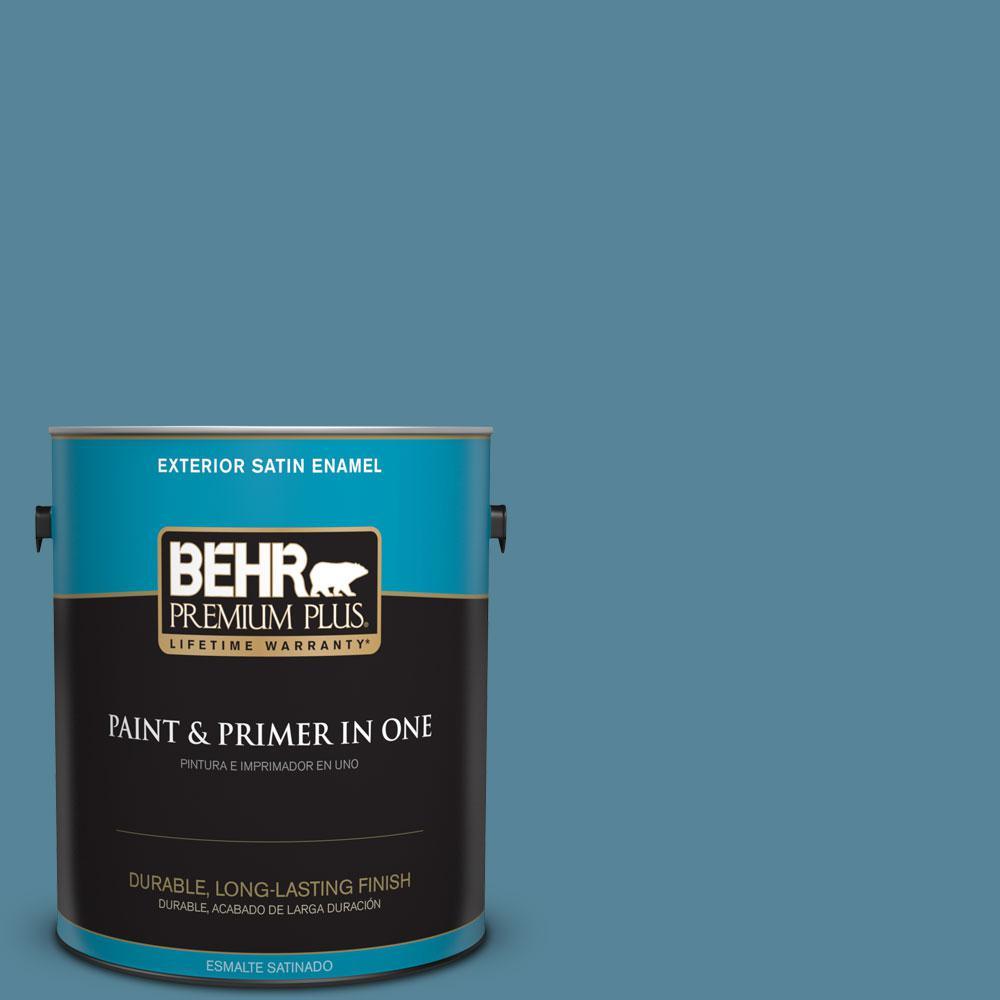 BEHR Premium Plus 1-gal. #S480-5 Blue Moon Bay Satin Enamel Exterior Paint