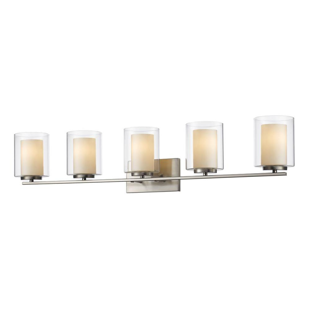 Filament Design Wesson 5-Light Brushed Nickel Steel Nautical Bath Light  with Clear Outside, Matte Opal Inside Glass Shades-CLI-JB039634 - The Home  Depot