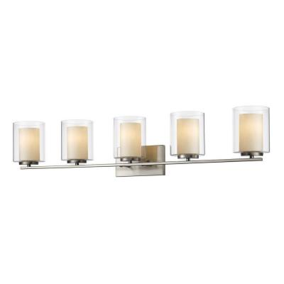 Wesson 5-Light Brushed Nickel Steel Nautical Bath Light with Clear Outside, Matte Opal Inside Glass Shades