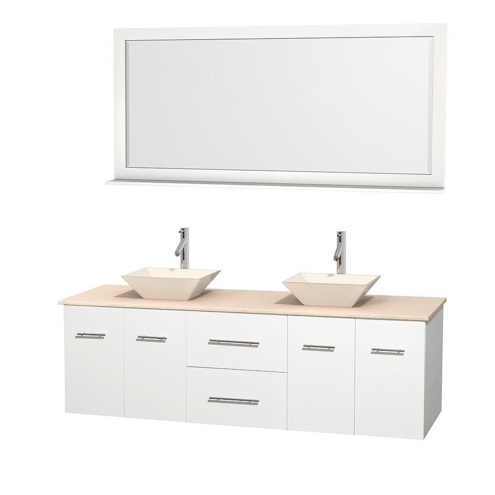 Wyndham Collection Centra 72 in. Double Vanity in White with Marble Vanity Top in Ivory, Bone Porcelain Sinks and 70 in. Mirror