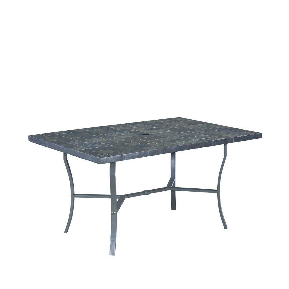 Stone Veneer Black Patio Dining Table with Stone Veneer Top