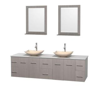 Wyndham Collection Centra 80 inch Double Vanity in Gray Oak with Solid-Surface Vanity Top in White, Ivory Marble Sinks... by Wyndham Collection